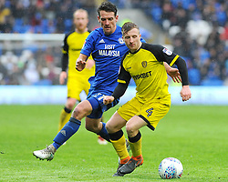 Jamie Allen of Burton Albion under pressure from Craig Bryson of Cardiff City - Mandatory by-line: Nizaam Jones/JMP- 30/03/2018 -  FOOTBALL -  Cardiff City Stadium- Cardiff, Wales -  Cardiff City v Burton Albion - Sky Bet Championship