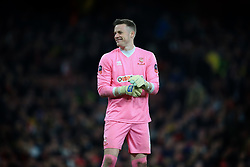 11 March 2017 - The FA Cup - (Sixth Round) - Arsenal v Lincoln City - Paul Farman of Lincoln City smiles as the Arsenal fans question the colour of his goalkeeping attire - Photo: Marc Atkins / Offside.
