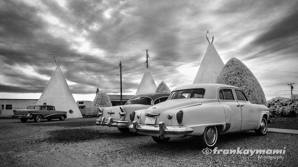 Infrared images of the Wigwam Motel along Route 66 in Holbrook, NM.