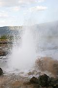 Kenya, Lake Bogoria, Hot springs geysers and steam jets