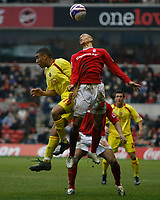 Photo: Steve Bond/Richard Lane Photography. <br />Nottingham Forest v Walsall. Coca Cola League One. 15/03/2008. Troy Deeney (L) is beaten in the air by Nathan Tyson (R)