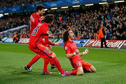 Former Chelsea player David Luiz of Paris Saint-Germain celebrates scoring a goal to level at 1-1 - Photo mandatory by-line: Rogan Thomson/JMP - 07966 386802 - 11/03/2015 - SPORT - FOOTBALL - London, England - Stamford Bridge - Chelsea v Paris Saint-Germain - UEFA Champions League Round of 16 Second Leg.