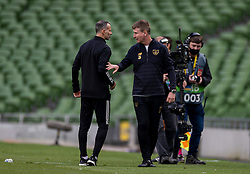 DUBLIN, REPUBLIC OF IRELAND - Sunday, October 11, 2020: Wales' manager Ryan Giggs (L) and Republic of Ireland's head coach Stephen Kenny after the UEFA Nations League Group Stage League B Group 4 match between Republic of Ireland and Wales at the Aviva Stadium. The game ended in a 0-0 draw. (Pic by David Rawcliffe/Propaganda)