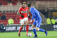 Middlesbrough forward Britt Assombalonga (9) takes on Peterborough United defender Jason Naismith (2) during The FA Cup 3rd round match between Middlesbrough and Peterborough United at the Riverside Stadium, Middlesbrough, England on 5 January 2019.