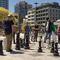 The famous oversized chessboard in Cathedral Square, Christchurch.