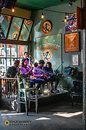 Jazz musicians perform at the Spotted Cat Club on Frenchmen Street in New Orleans, Louisiana, USA