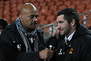 Sky tv's Willie Lose interviewing injured Stephen Donald during their Round 5 ITM cup Rugby match, Waikato v Tasman, at Waikato Stadium, Hamilton, New Zealand, Friday 29 July 2011. Photo: Dion Mellow/photosport.co.nz