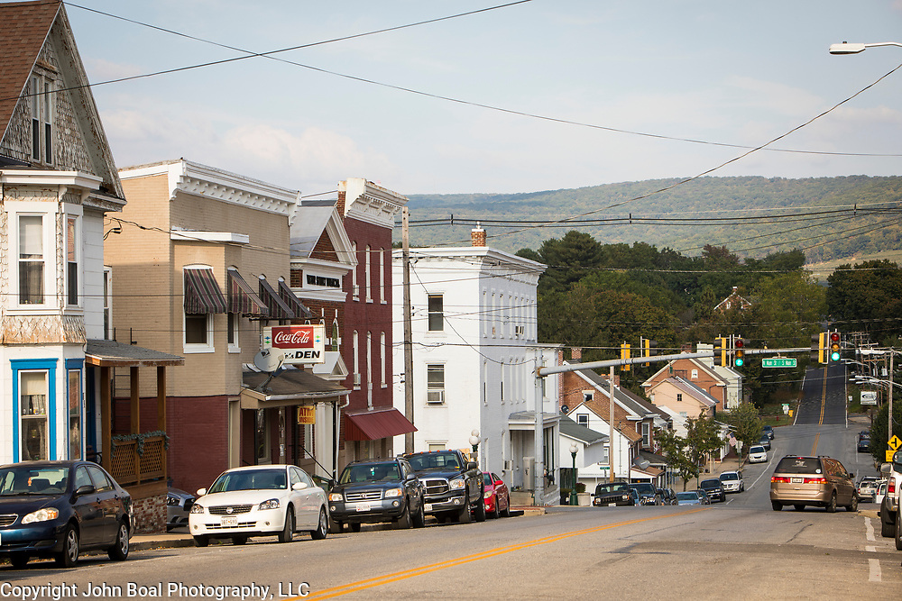 Downtown Smithsburg, Maryland, on Tuesday, September 26, 2017. Smithsburg is a very different town than the southern part of the district that includes Potomac and Germantown. Originally a District that was mostly rural, but included towns like Frederick and Hagerstown, Maryland's 6th District was redistricted in 2011, combining rural northern Maryland regions with more affluent communities like near Washington D.C. turning the district from Republican to Democrat. <br />  <br /> CREDIT: John Boal for The Wall Street Journal<br /> GERRYMANDER