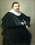 Portrait of Lucas de Clercq by Frans Hals (c. 1582-1666) oil on canvas, c 1635.  Frans Hals, like no other, was able to bring his sitters to life.  In this portrait, the Haarlem merchant Lucas de Clercq is shown with his left arm akimbo and his right arm resting on his stomach.  Even though his hands are hidden and still, his vitality is expressed in the animated contour of his body and his slightly turned head.