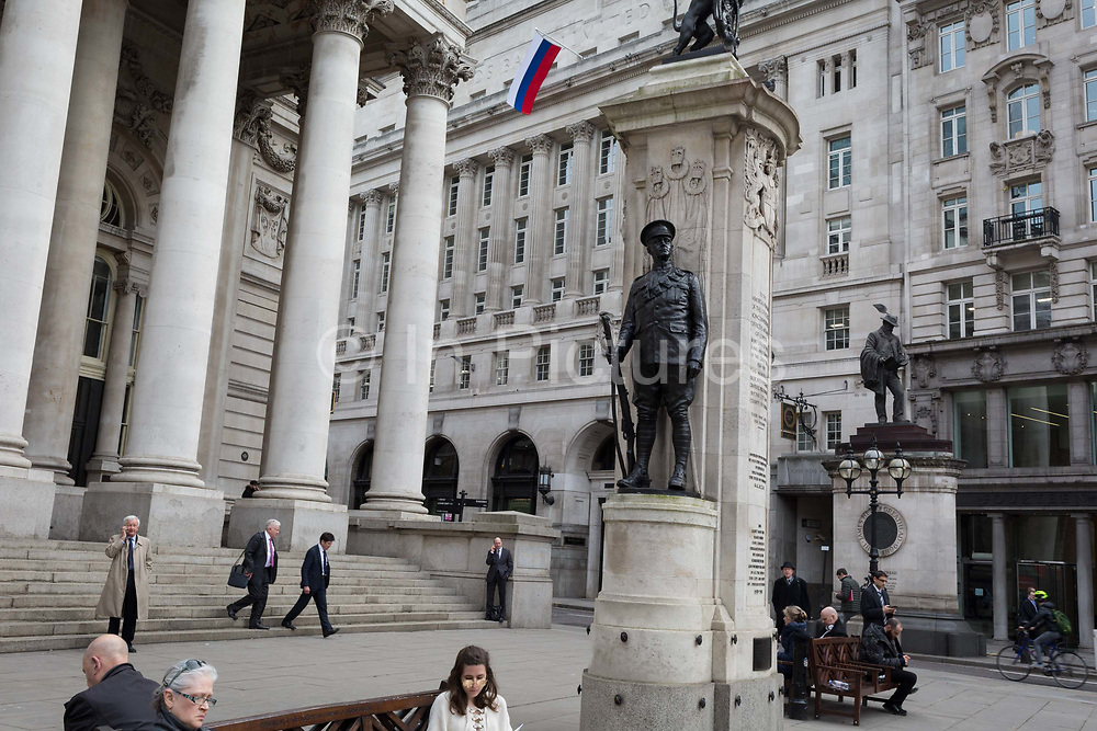 The flag of the Russian Federation, a metaphor for Russian money and investment in the UK capital, hangs above Cornhill in the City of London, the capitals financial district, on 14th March 2018, in London England.