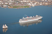 Carnival Pride with Tall ship Pride of Baltimore on the Patapsco River Maryland