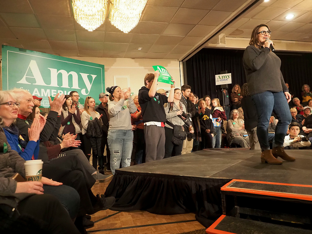 Minnesota Lieutenant Governor Peggy Flanagan warms up the room before introducing presidential candidate and Minnesota Senator Amy Klobuchar at the Klobuchar Get Out the Caucus Rally in Cedar Rapids, Iowa.