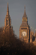 The Elizabeth Tower of the British Houses of Parliament, also known as the Palace of Westminster, the seat of the UKs government, on 17th January 2017, in London England. The Elizabeth Tower previously called the Clock Tower named in tribute to Queen Elizabeth II in her Diamond Jubilee year – was raised as a part of Charles Barrys design for a new palace, after the old Palace of Westminster was largely destroyed by fire on the night of 16 October 1834. The new Parliament was built in a Neo-gothic style. Although Barry was the chief architect of the Palace, he turned to Augustus Pugin for the design of the clock tower. It celebrated its 150th anniversary on 31 May 2009. The tower was completed in 1858 and has become one of the most prominent symbols of both London and England.