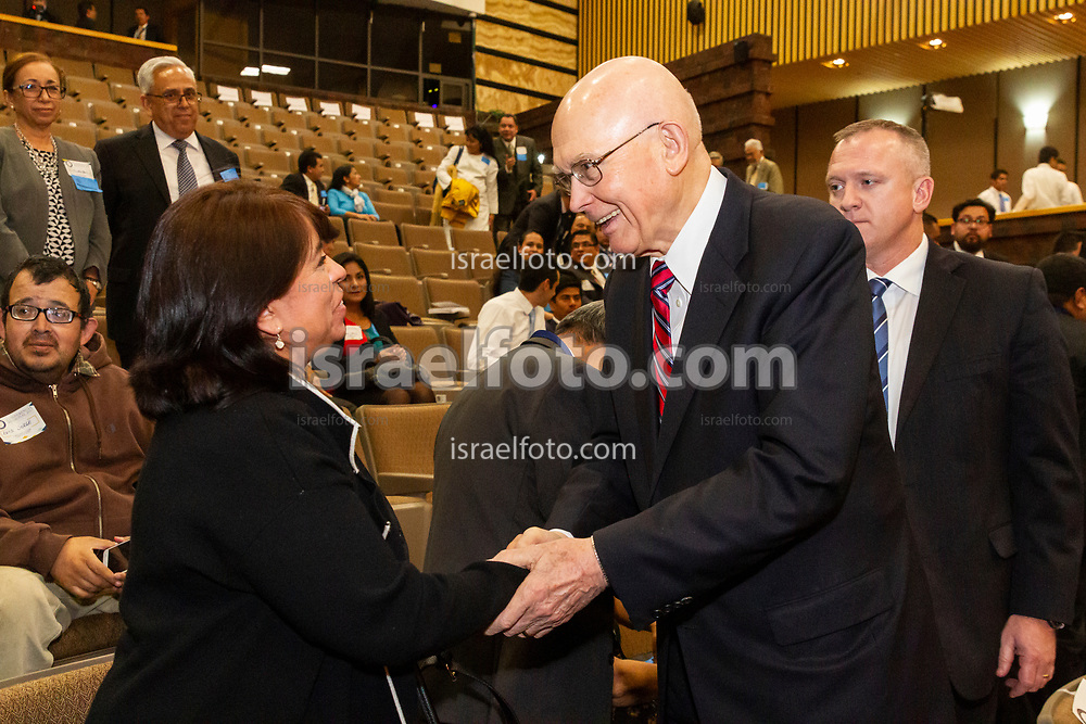 Mexico City, Mexico. January 13, 2017. Elder Dallin H. Oaks, member of the Quorum of the Twelve, greets attendees to the Regional Conference of the J. Reuben Clark Law Society chapter Mexico. The meeting took place in an auditorium that is part of the Federal Legislative Palace .