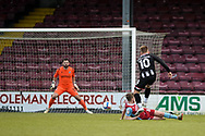 Grimsby Town George Williams (10) shoots at goal during the EFL Sky Bet League 2 match between Scunthorpe United and Grimsby Town FC at the Sands Venue Stadium, Scunthorpe, England on 23 January 2021.
