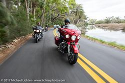 Sam Dando of Indian Motorcycles riding a 2017 Indian Chieftain Elite through Tamoka State Park during Daytona Beach Bike Week. FL. USA. Monday March 13, 2017. Photography ©2017 Michael Lichter.