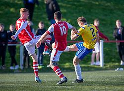 Broxburn Athletic's Greg Binnie brought down by Cowdenbeath's Jamie Pyper for their penalty. half time : Broxburn Athletic FC 1 v 0 Cowdenbeath, William Hill Scottish Cup 2nd Round replay played 26/10/2019 at Albyn Park, Greendykes Road, Broxburn.