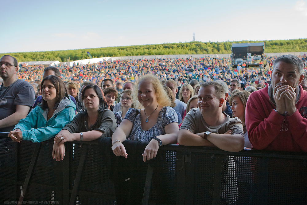 Front row of the crowd during the Tom Baxter Performance at Delamere forest