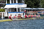 Henley-on-Thames. United Kingdom.  2017 Henley Royal Regatta, Henley Reach, River Thames. <br /> Oxford Brookes celebrate winning the Temple Challenge Cup.<br /> <br /> 12:31:21  Sunday  02/07/2017<br /> <br /> [Mandatory Credit. Intersport Images}.