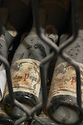 old bottles in the cellar domaine roger sabon chateauneuf du pape rhone france