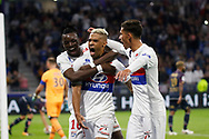 Mariano Diaz (OL) Mariano Diaz (OL) celebrates after scoring a penalty kick, Houssem Aouar (OL) Bertrand Traore (OL) during the French Championship Ligue 1 football match between Olympique Lyonnais and Dijon FCO on September 23, 2017 at Groupama stadium in Lyon, France - Photo Romain Biard / Isports / ProSportsImages / DPPI