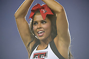 DALLAS, TX - AUGUST 30: A Texas Tech cheerleader look on before kickoff between the SMU Mustangs and the Texas Tech Red Raiders on August 30, 2013 at Gerald J. Ford Stadium in Dallas, Texas.  (Photo by Cooper Neill/Getty Images) *** Local Caption ***