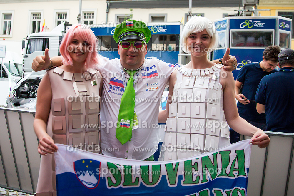 Aleksander Javornik with TEM Catez hostesses after 5th Stage of 26th Tour of Slovenia 2019 cycling race between Trebnje and Novo mesto (167,5 km), on June 23, 2019 in Slovenia. Photo by Matic Klansek Velej / Sportida