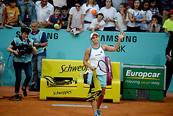 May 6, 2019 - Madrid, Spain - Ashleigh Barty (AUS) in her match against Danielle Collins (USA) during day three of the Mutua Madrid Open at La Caja Magica in Madrid on 6th May, 2019. (Credit Image: © Juan Carlos Lucas/NurPhoto via ZUMA Press)
