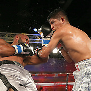Jonathan Vidal (L) throws a punch against Ricardo Rodriguez during a Telemundo Boxeo boxing match at the A La Carte Pavilion on Friday,  March 13, 2015 in Tampa, Florida.  Rodriguez won the bout. (AP Photo/Alex Menendez)