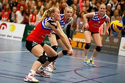 20150425 NED: Eredivisie VC Sneek - Eurosped, Sneek<br />Roos van Wijnen (11) of VC Sneek, Janieke Popma (2) of VC Sneek, Marrit Jasper (7) of VC Sneek<br />©2015-FotoHoogendoorn.nl / Pim Waslander