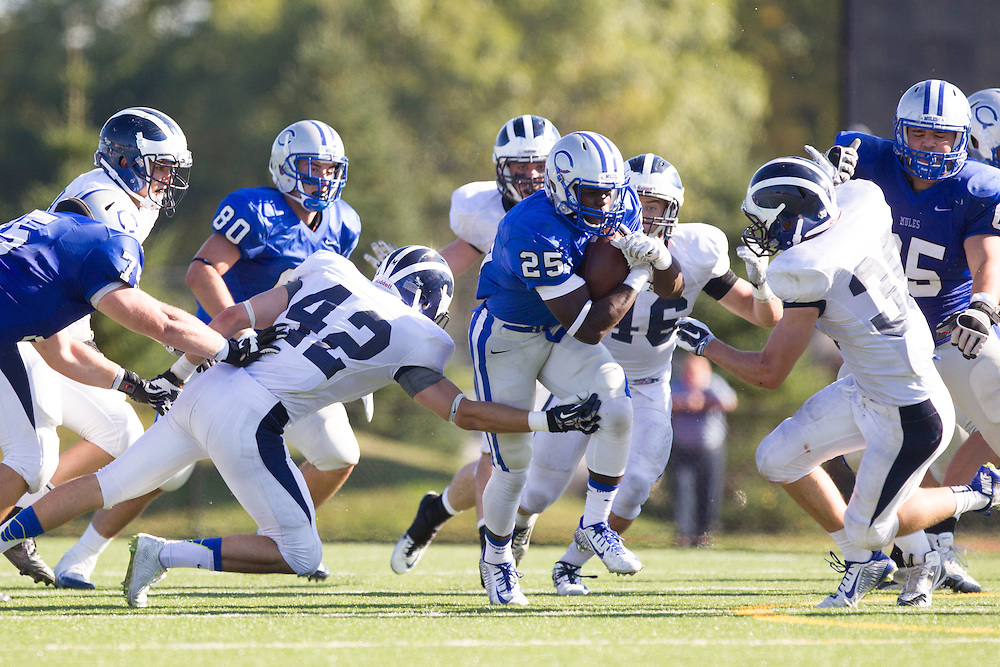 Jabari Hurdle-Price, of Colby College, during a NCAA Division III football game on September 27, 2014 in Waterville, ME. (Dustin Satloff/Colby College Athletics)