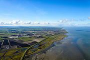 Nederland, Friesland, Gemeente Dongeradeel, 28-02-2016; de Friese Waddenkust met zeedijk ter hoogte van Paesens-Moddergat. Voormalig kweldergebied, nu bedijkt. Wierumerwad in de voorgrond.<br /> Polder near Waddensea, former tidal flat.<br /> <br /> luchtfoto (toeslag op standard tarieven);<br /> aerial photo (additional fee required);<br /> copyright foto/photo Siebe Swart