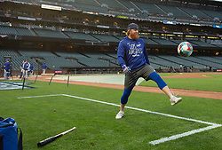 Oct 7, 2021; San Francisco, CA, USA; Los Angeles Dodgers infielder Justin Turner (10) kicks a soccer ball around during NLDS workouts. Mandatory Credit: D. Ross Cameron-USA TODAY Sports