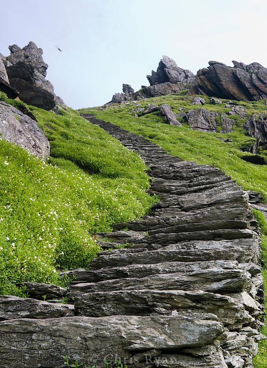 Handmade stone stairway on Skellig Michael, County Kerry, Ireland