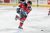 KELOWNA, BC - MARCH 11: Trevor Wong #8 of the Kelowna Rockets warms up with the puck on the ice against the Victoria Royals at Prospera Place on March 11, 2020 in Kelowna, Canada. (Photo by Marissa Baecker/Shoot the Breeze)
