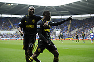 Wigan's Maynor Figueroa ® celebrates with teammate Emmerson Boyce (l) after he scores his sides 3rd goal. Barclays Premier league, Reading v Wigan Athletic at the Madejski Stadium in Reading on Saturday 23rd Feb 2013. pic by Andrew Orchard, Andrew Orchard sports photography,