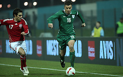 Anton Zlogar (16) of Slovenia and Kenneth Perez (17) of Denmark during the UEFA Friendly match between national teams of Slovenia and Denmark at the Stadium on February 6, 2008 in Nova Gorica, Slovenia.  Slovenia lost 2:1. (Photo by Vid Ponikvar / Sportal Images).