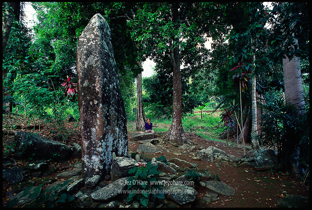 Megalith remains, Tugu Cungkuk Gede at Cengkuk Margalaksana, Cikakak, near Pelabuhan Ratu, West Java, Indonesia.