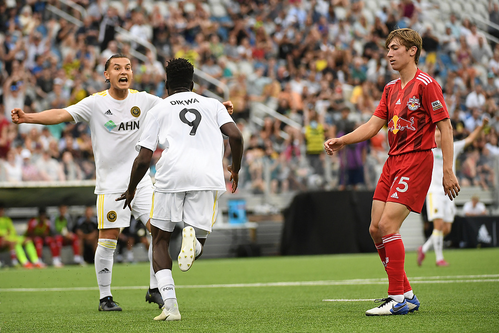PITTSBURGH, PA - JUNE 25: The Pittsburgh Riverhounds SC take on the New York Red Bulls II at Highmark Stadium on June 25, 2021 in Pittsburgh, Pennsylvania. (Photo by Justin Berl)