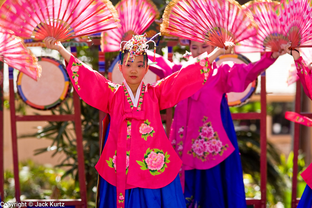 11 MARCH 2007 -- PHOENIX, AZ: Members of the Kah-Yah Korean Traditional Dance Academy, from Los Angeles, perform a Fan Dance at the Korean Arirang Festival in Phoenix, AZ, Sunday. Arirang is a traditional Korean folk song and is also the name the South Korean overseas broadcast service. The Arirang festival in Phoenix is a celebration of Korean culture. The event is sponsored by the Korean Cultural Center in Arizona.  Photo by Jack Kurtz/ZUMA Press
