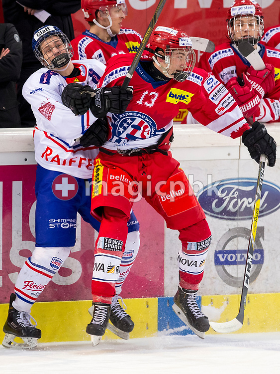 Rapperswil-Jona Lakers forward Jonas Graetzer is pictured during the first Elite B 1/4 final Playoff ice hockey game between Rapperswil-Jona Lakers and EHC Buelach in Rapperswil, Switzerland, Tuesday, Feb. 13, 2018. (Photo by Patrick B. Kraemer / MAGICPBK)