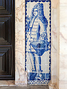 Blue and white azulejo tiles fashionable Portuguese gentleman in eighteenth century, University of Evora, Portugal
