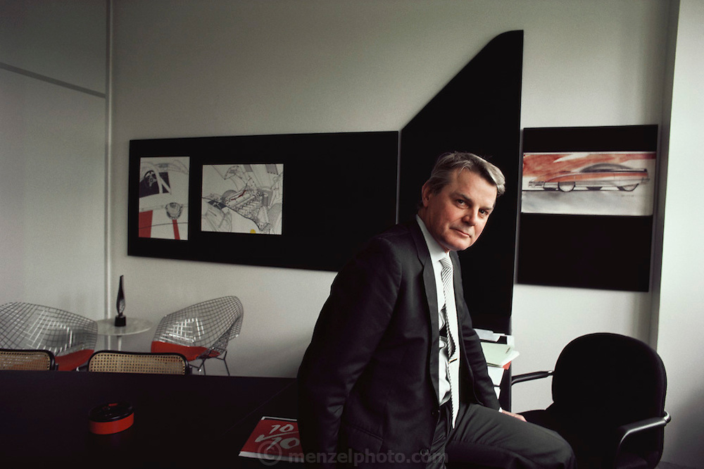 Portrait of the head of the Citroen car designers in his office. Paris, France.