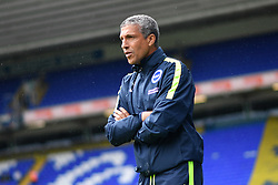"""Brighton & Hove Albion manager Chris Hughton during the pre-season friendly match at the St Andrew's Trillion Trophy Stadium, Birmingham. PRESS ASSOCIATION Photo. Picture date: Saturday July 28, 2018. See PA story SOCCER Birmingham. Photo credit should read: Anthony Devlin/PA Wire. RESTRICTIONS: EDITORIAL USE ONLY No use with unauthorised audio, video, data, fixture lists, club/league logos or """"live"""" services. Online in-match use limited to 75 images, no video emulation. No use in betting, games or single club/league/player publications."""