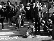 """G20 protestors wait patiently whilst being """"kettled"""" by the Metropolitan Police London, UK . 1/4/2009"""
