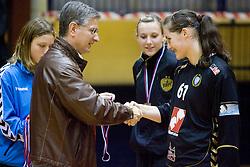 Franjo Bobinac and Neja Soberl at last 10th Round handball match of Slovenian Women National Championships between RK Krim Mercator and RK Olimpija, on May 15, 2010, in Galjevica, Ljubljana, Slovenia. Olimpija defeated Krim 39-36, but Krim became Slovenian National Champion. (Photo by Vid Ponikvar / Sportida)