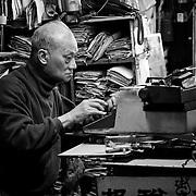 Jade Market typist, Hong Kong, China (January 2006)