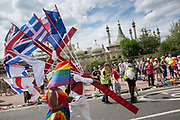 The Brighton Pride parade and carnival on the 4th August 2018 in Brighton in the United Kingdom. Brighton Pride is an annual event held in the city of Brighton and Hove, England, organised by Brighton Pride, a community interest company who promote equality and diversity, and advance education to eliminate discrimination against the lesbian, gay, bisexual and transgender community.