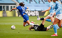2020 / 2021 FA Women's Super League - Manchester City vs Chelsea - Manchester City Academy Stadium<br /> <br /> Sam Kerr of Chelsea is brought down for a penalty at Academy Stadium<br /> <br /> Credit COLORSPORT/LYNNE CAMERON