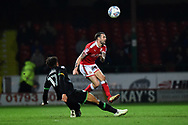 James Dunne (8) of Swindon Town is fouled by Omar Sowunmi (17) of Yeovil Town during the EFL Sky Bet League 2 match between Swindon Town and Yeovil Town at the County Ground, Swindon, England on 10 April 2018. Picture by Graham Hunt.